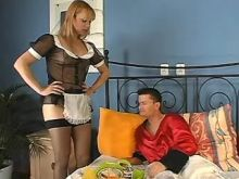 Guy sucks cock of housemaid shemale in stockings