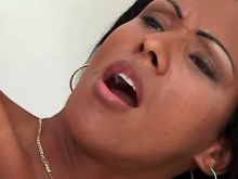 Lewd ebony shemale gets cum on face and jizzing