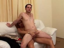 Guy fucks lustful shemale with huge cock on sofa