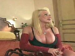 Gorgeous shemale in red lingerie sucks strong cock