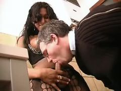Latin shemale fucks man and gets cumload in mouth